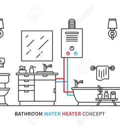 bathroom water heater geyser vector illustration bathroom interior water heaters large volume water heater interior diagram [ 1300 x 919 Pixel ]
