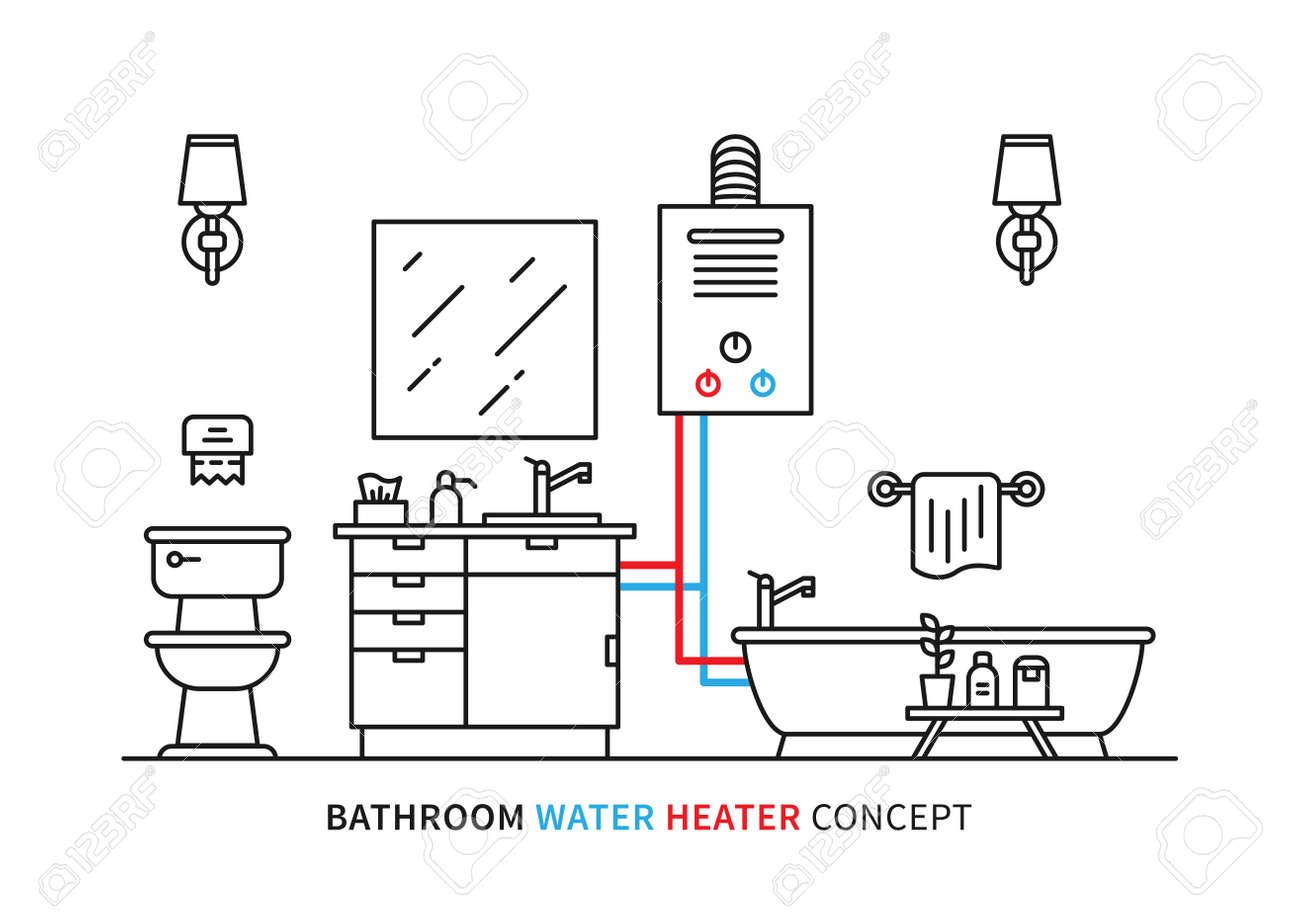 hight resolution of bathroom water heater geyser vector illustration bathroom interior water heaters large volume water heater interior diagram
