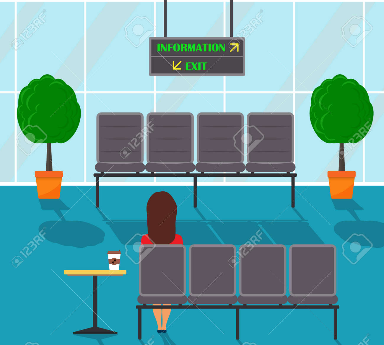 waiting chairs rolling desk chair with brakes hall in some office building corridor woman sitting vector a and decorative trees pots large window