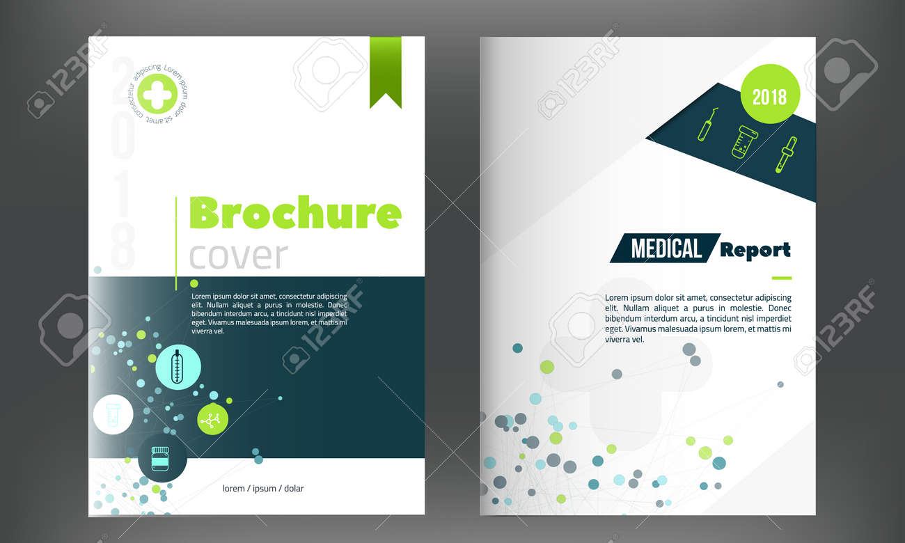 Medical Annual Report Template In Blue Green Color With Connection ...