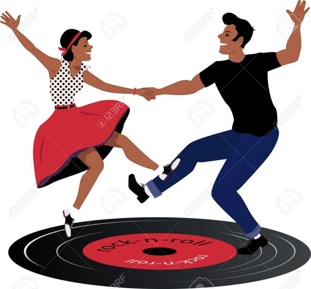 medium resolution of rockabilly couple dancing on a vinyl record stock vector 36425722