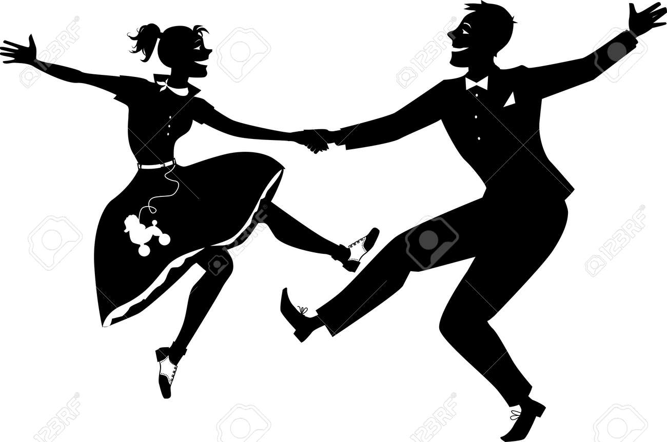 hight resolution of rock and roll dancing silhouette stock vector 36425756