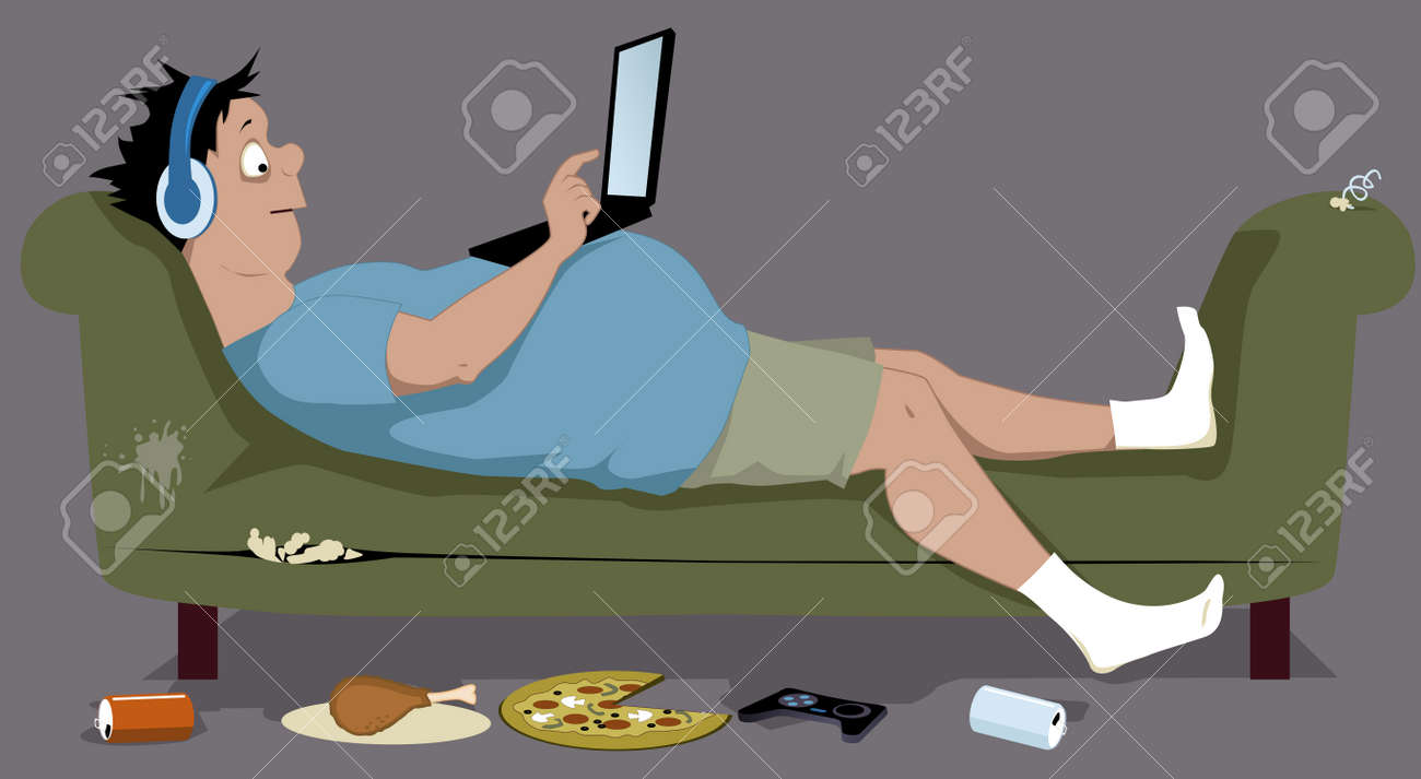 hight resolution of overweight teenager lying on a dirty torn couch with a laptop sitting on his stomach junk