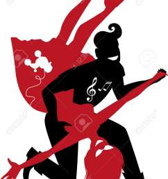 red and black silhouette of a couple dancing 1950s style rock and roll no white objects [ 956 x 1300 Pixel ]