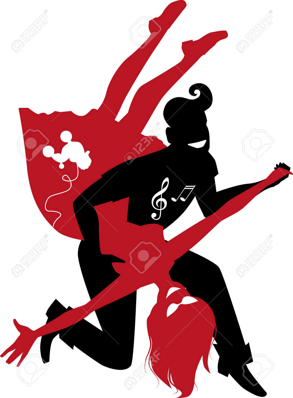 hight resolution of red and black silhouette of a couple dancing 1950s style rock and roll no white objects