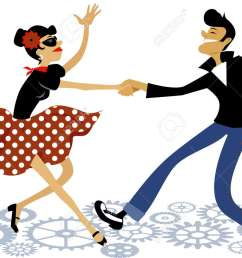 cartoon couple dressed in rockabilly style fashion dancing rock and roll vector illustration  [ 1300 x 960 Pixel ]