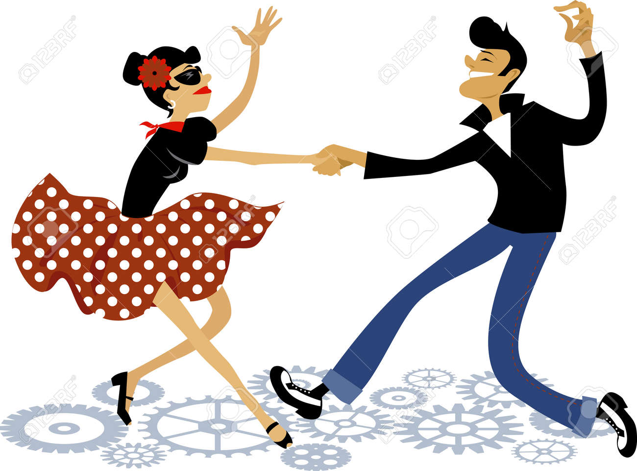 hight resolution of cartoon couple dressed in rockabilly style fashion dancing rock and roll vector illustration