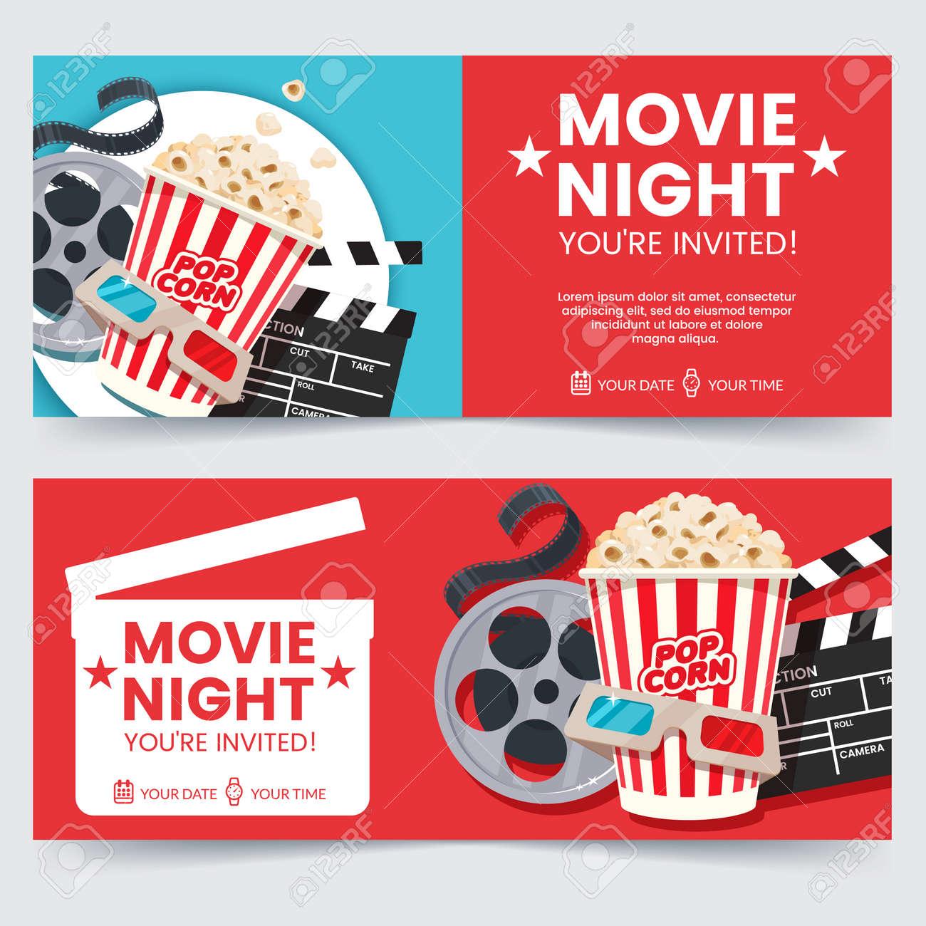 cinema tickets design concept movie night invitation cinema