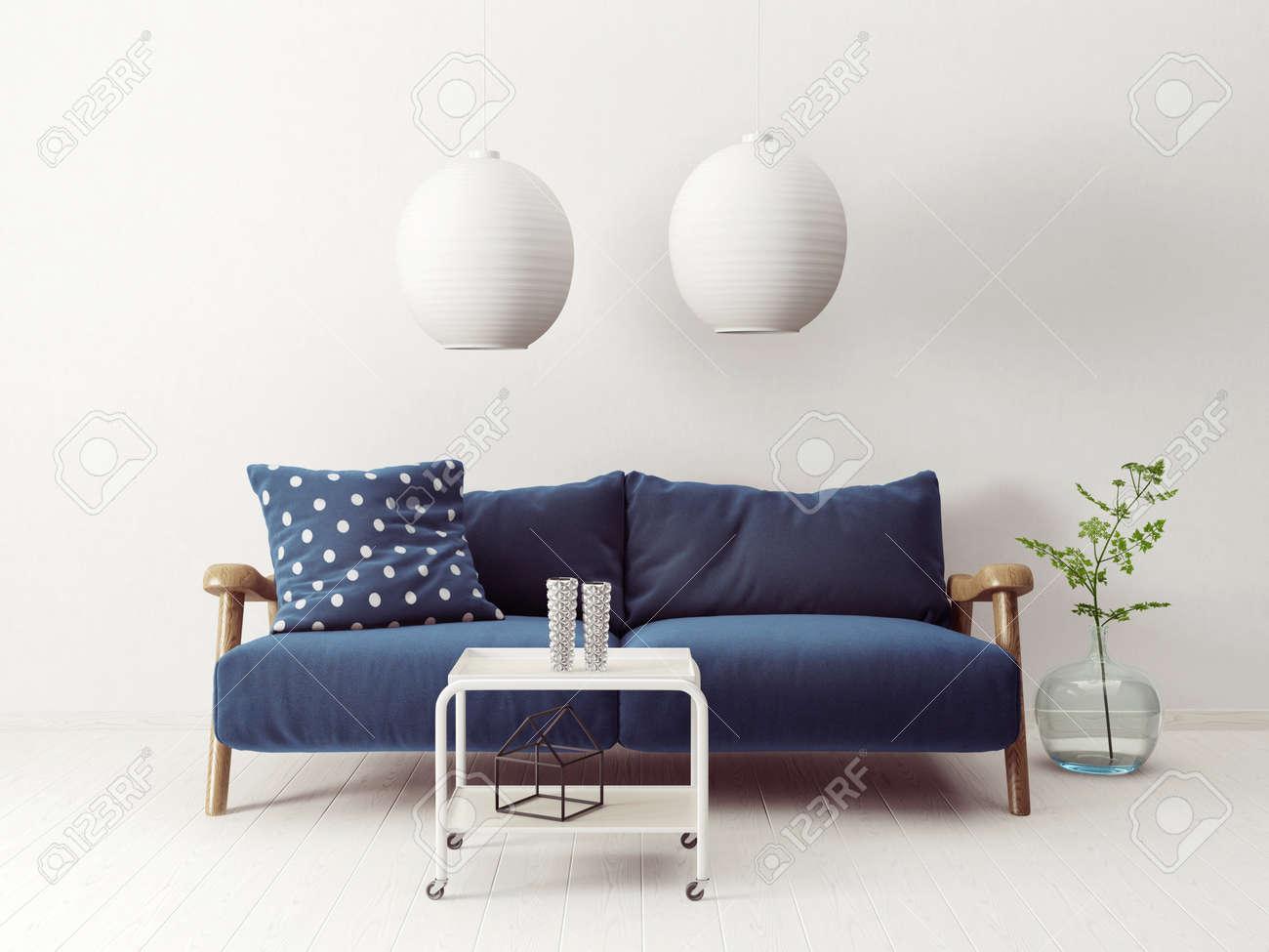 scandinavian living room furniture ideas fireplace tv modern interior sofa in 3d render illustration