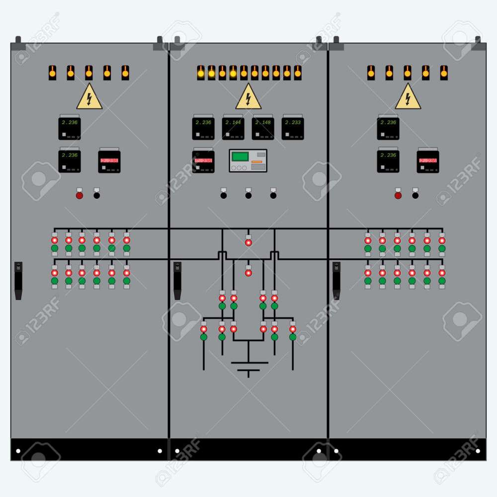 medium resolution of picture of the electrical panel electric meter and circuit breakers high voltage transformer