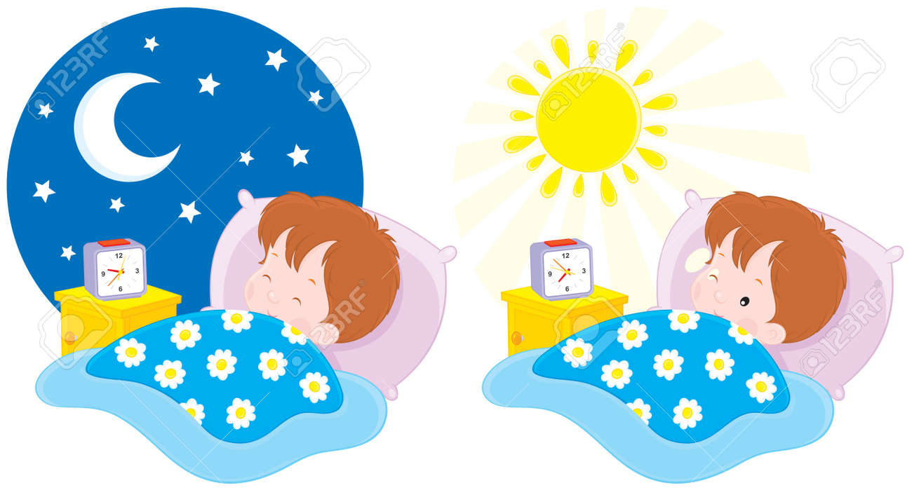 hight resolution of boy sleeping and waking up stock vector 11827494