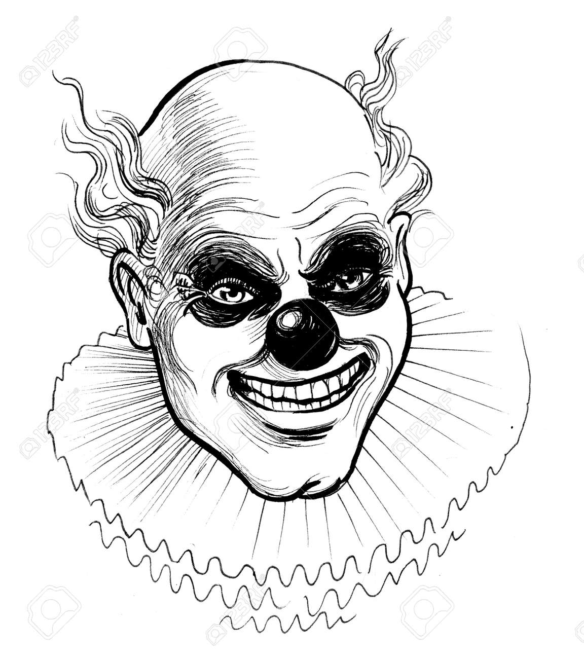Scary Clown Ink Black And White Drawing Stock Photo Picture And Royalty Free Image Image 134215644