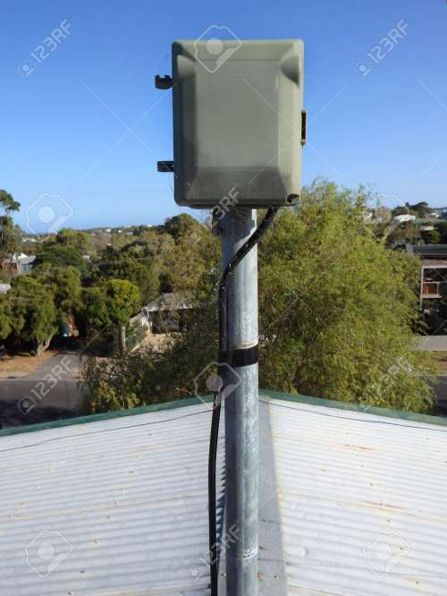 small resolution of plastic electrical box receptor outdoor on a pole on top of a roo stock photo