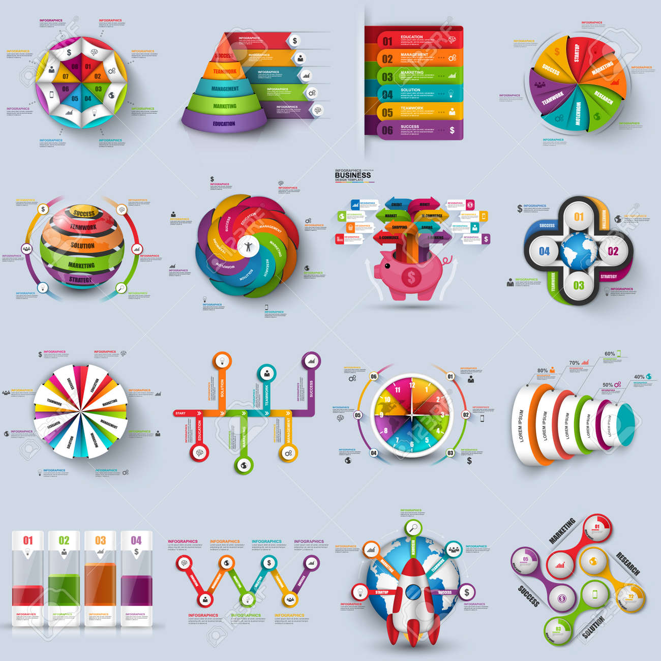hight resolution of collection of 3d infographic vector design template can be used for workflow processes cycle