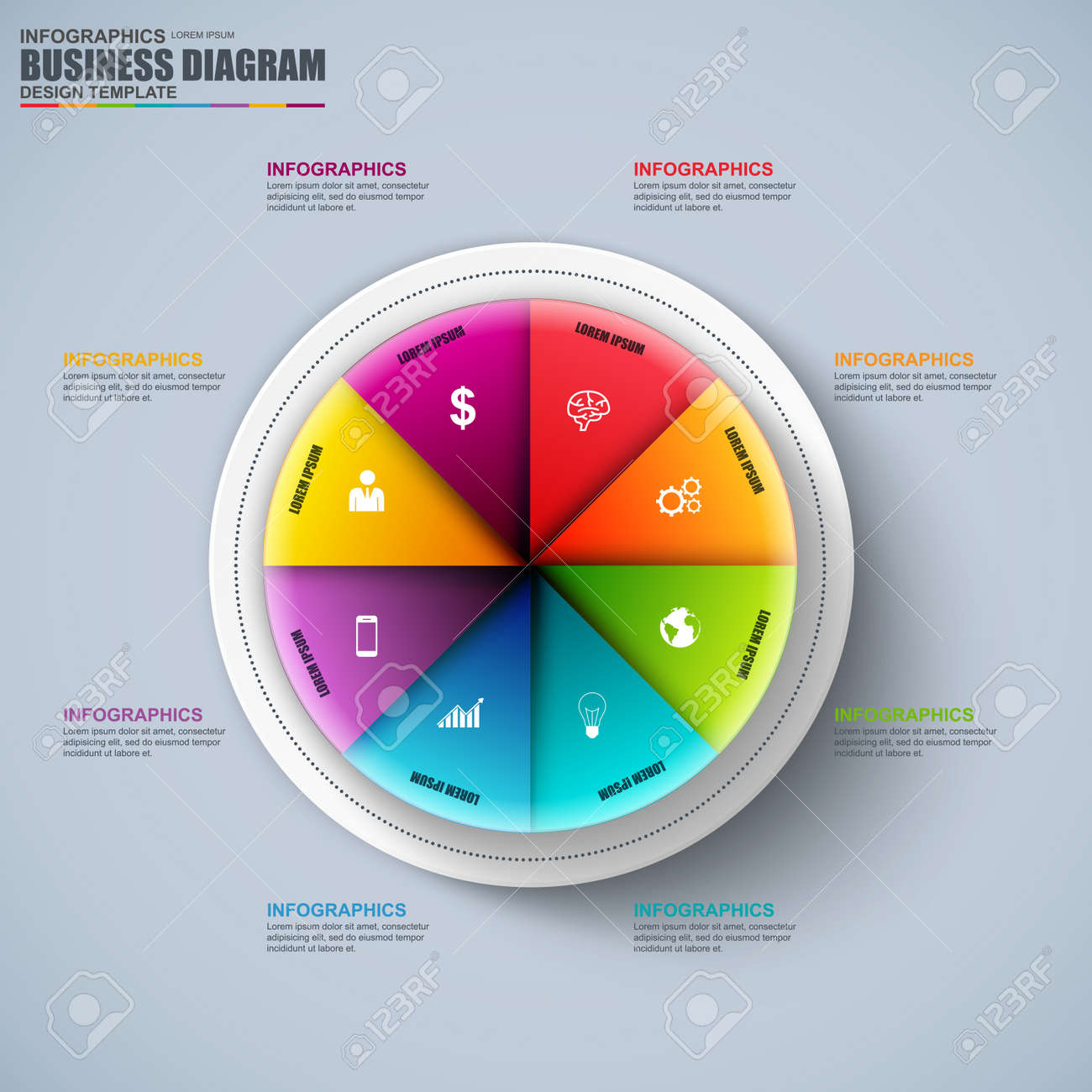 hight resolution of abstract 3d business circular diagram infographic can be used for workflow layout data visualization