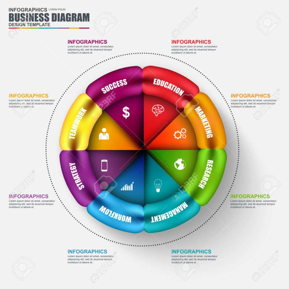 medium resolution of abstract 3d business circular diagram infographic can be used for workflow layout data visualization