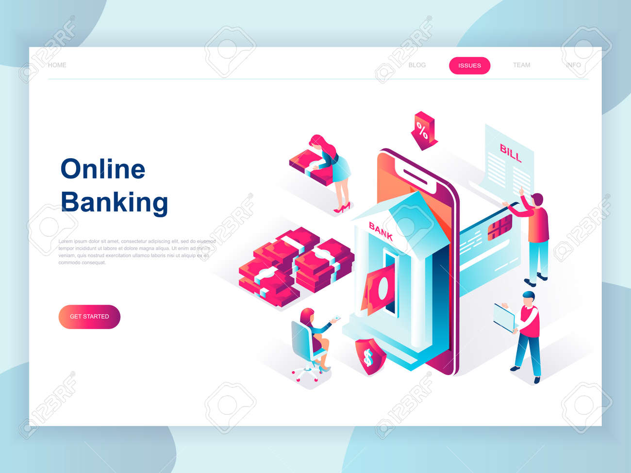 Modern Flat Design Isometric Concept Of Online Banking For Banner Royalty Free Cliparts Vectors And Stock Illustration Image 110091028