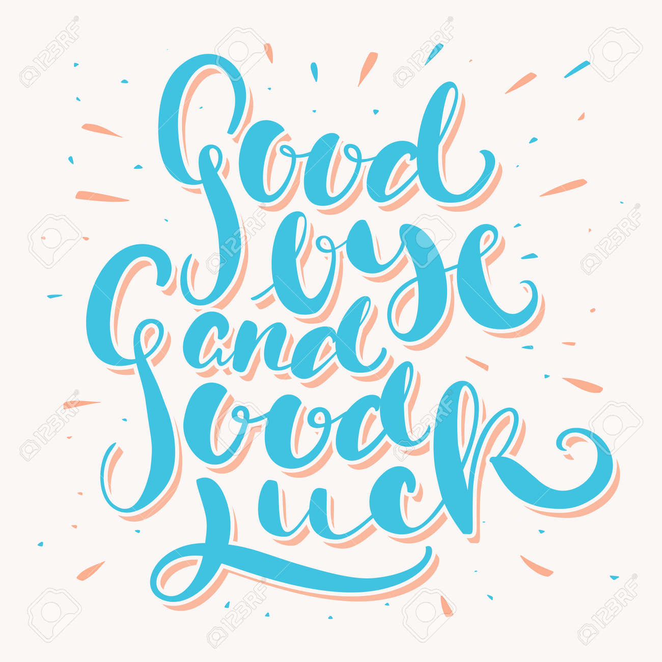 hight resolution of goodbye and good luck hand lettering vector hand drawn illustration illustration