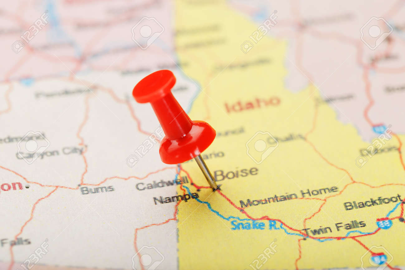 The map legend often also has a scale to help the map reader gauge dista. Red Clerical Needle On A Map Of Usa Idaho And The Capital Boise Closeup Map Idaho With Red Tack Us Map Pin Stock Photo Picture And Royalty Free Image Image 128311959