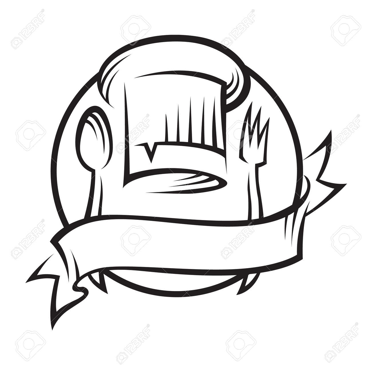 hight resolution of chef hat with spoon and fork stock vector 11650415