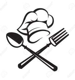 black illustration of spoon fork and chef hat [ 1300 x 1300 Pixel ]