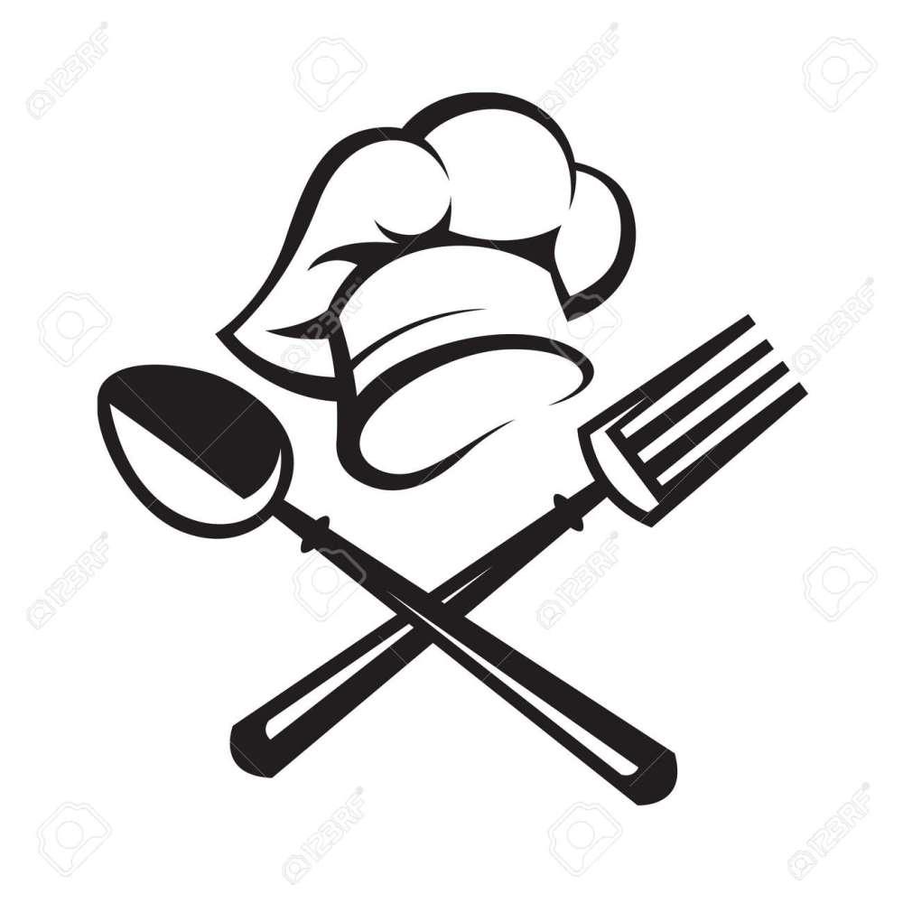 medium resolution of black illustration of spoon fork and chef hat