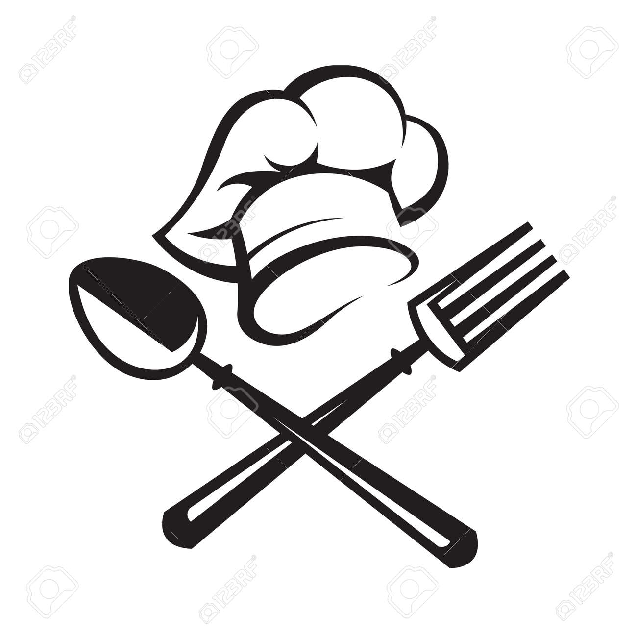 hight resolution of black illustration of spoon fork and chef hat
