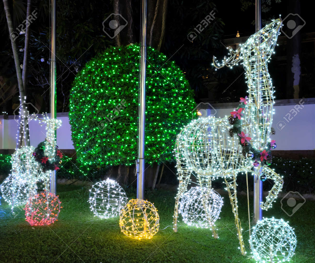 Christmas Decorations On The Street A Deer Made From Glowing Stock Photo Picture And Royalty Free Image Image 123296262
