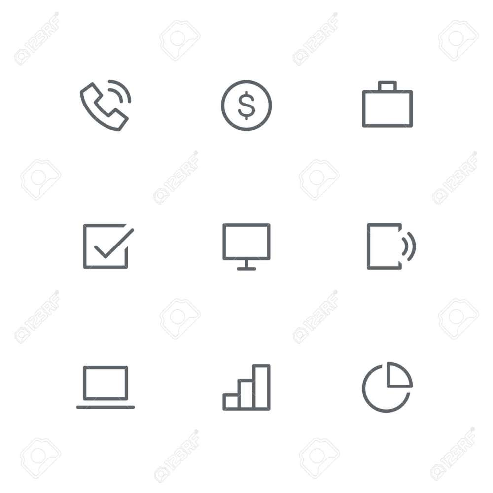 medium resolution of basic outline icon set telephone dollar coin briefcase check mark computer