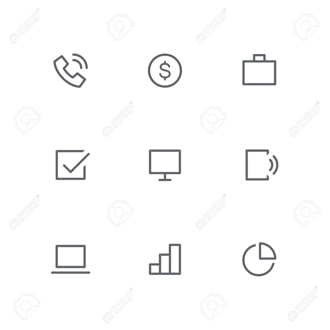 hight resolution of basic outline icon set telephone dollar coin briefcase check mark computer