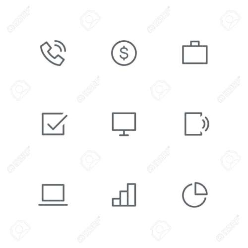 small resolution of basic outline icon set telephone dollar coin briefcase check mark computer