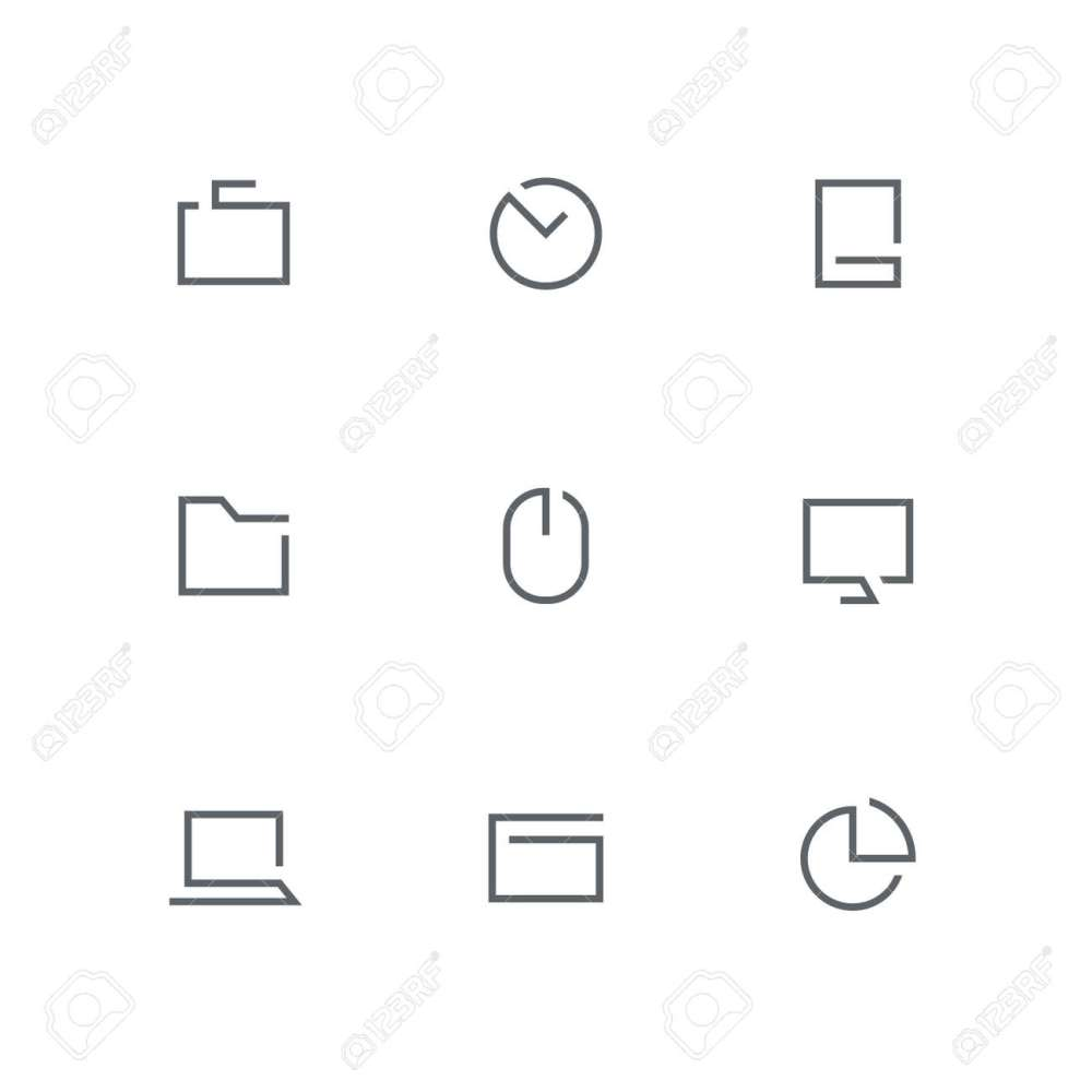 medium resolution of open outline icon set briefcase clock mobile phone folder computer mouse