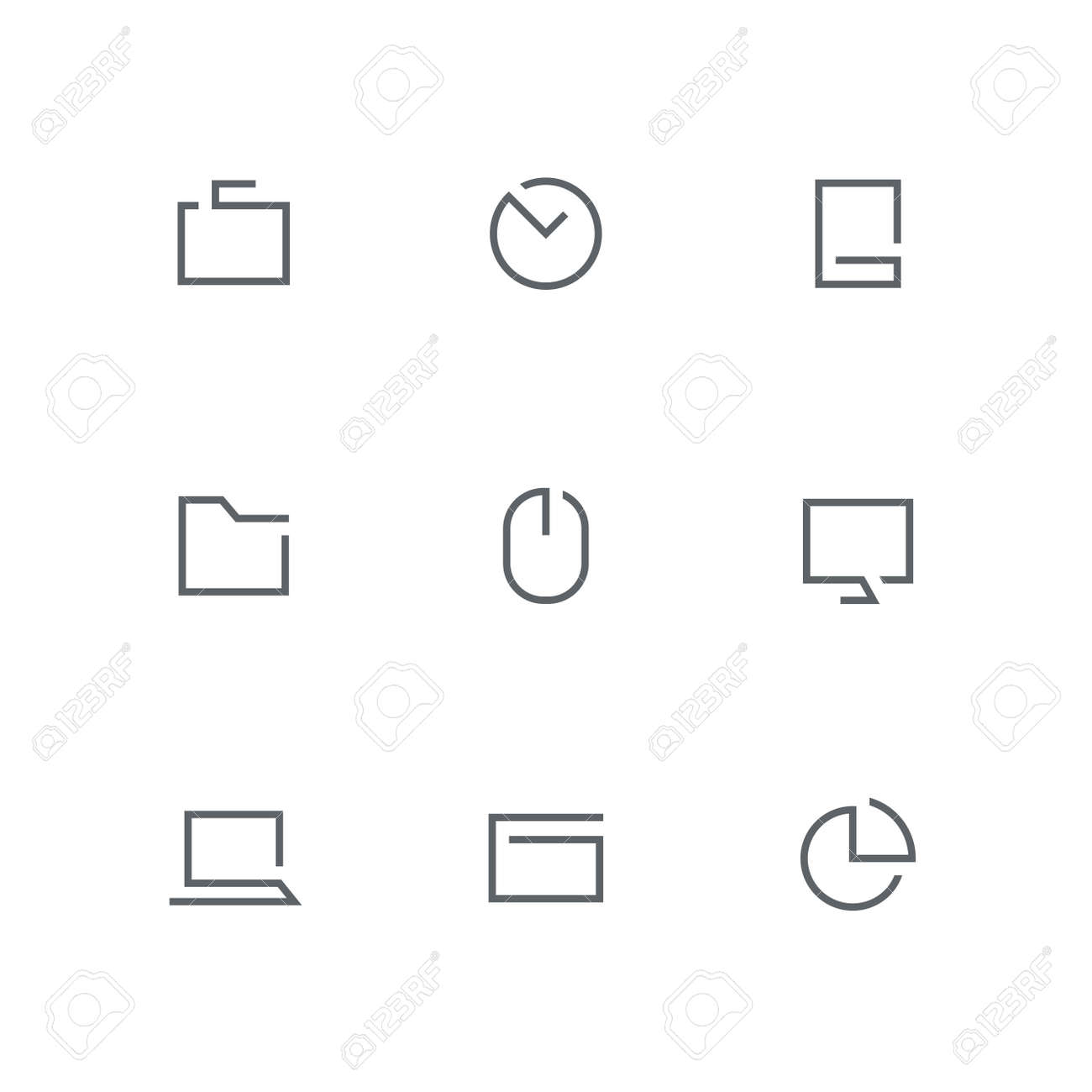 hight resolution of open outline icon set briefcase clock mobile phone folder computer mouse
