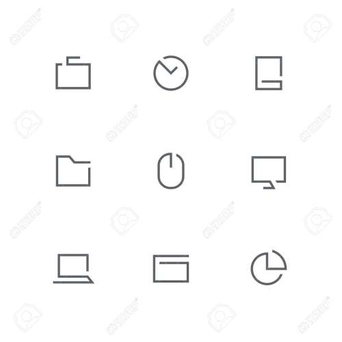 small resolution of open outline icon set briefcase clock mobile phone folder computer mouse