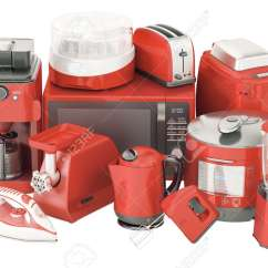 Red Kitchen Appliances Counters Quartz Set Of Home Toaster Kettle Coffeemaker Iron Microwave