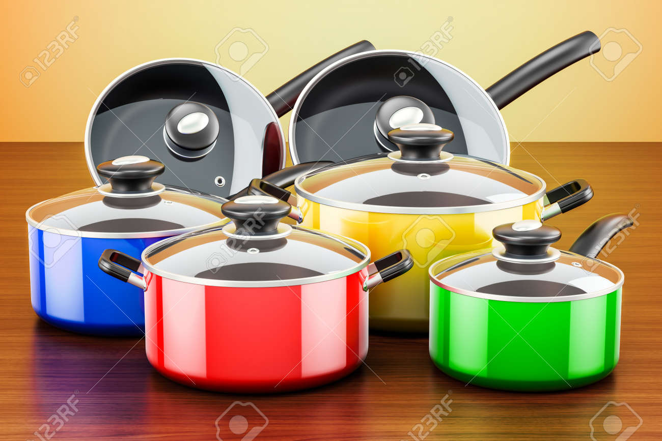 kitchen pots cheap islands set of colored cooking utensils and cookware pans on the wooden table