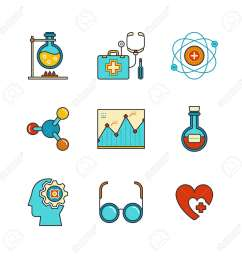 chemical flask doctors support first aid kit eye glasses chemistry atom heart shape diagram and psychology  [ 1299 x 1300 Pixel ]