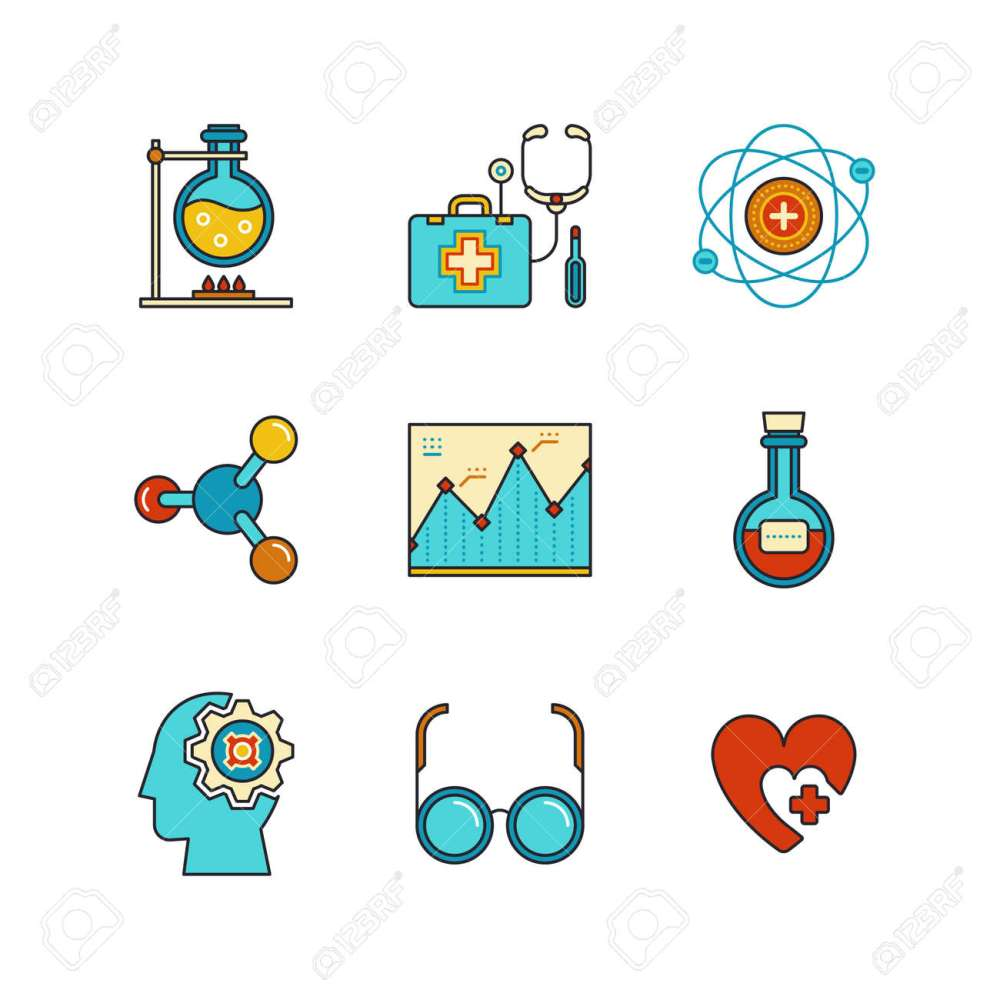 medium resolution of chemical flask doctors support first aid kit eye glasses chemistry atom heart shape diagram and psychology