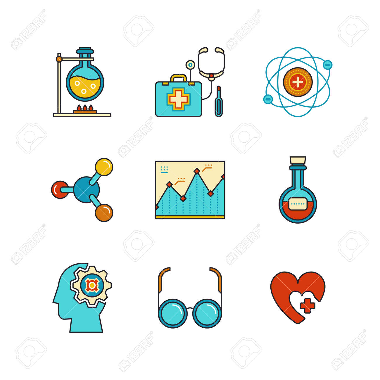 hight resolution of chemical flask doctors support first aid kit eye glasses chemistry atom heart shape diagram and psychology