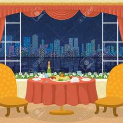 Two Chair Dining Table Zebra Wood Restaurant Background With Chairs And Plates Napkins Glasses Champagne