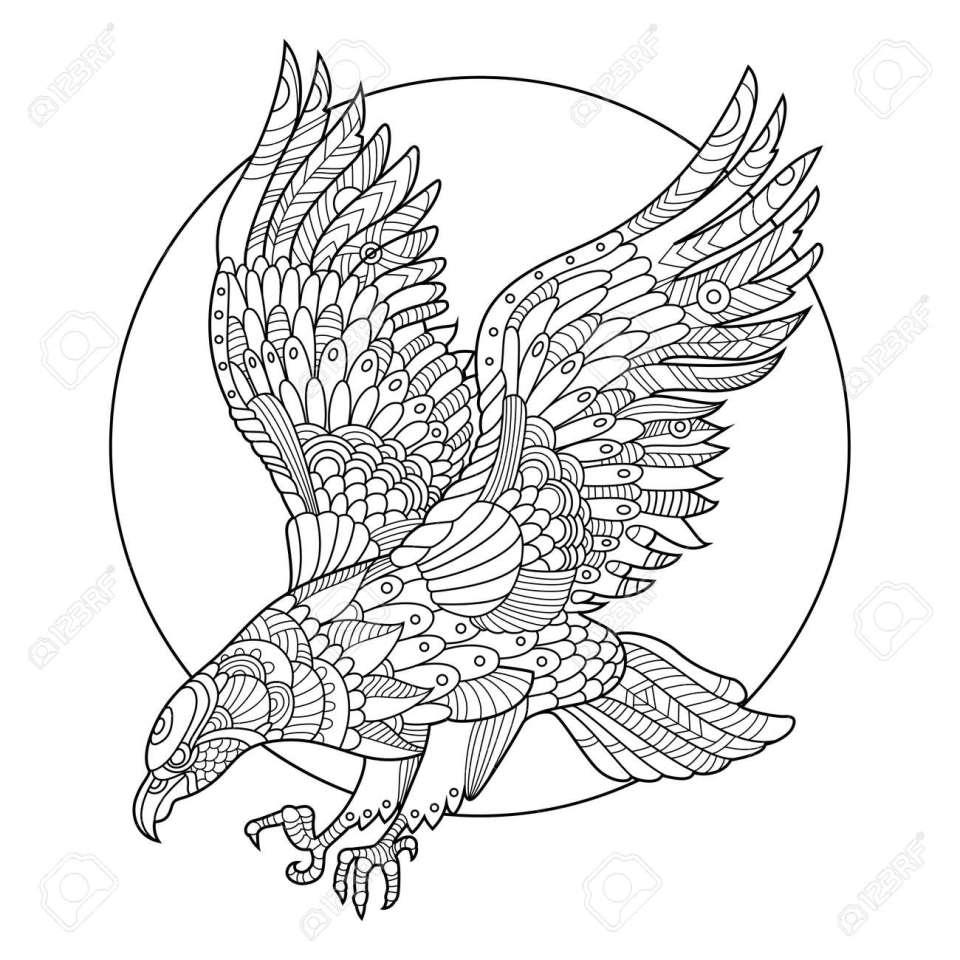 イーグル鳥の大人図のための塗り絵。大人のための着色抗ストレス。入れ墨