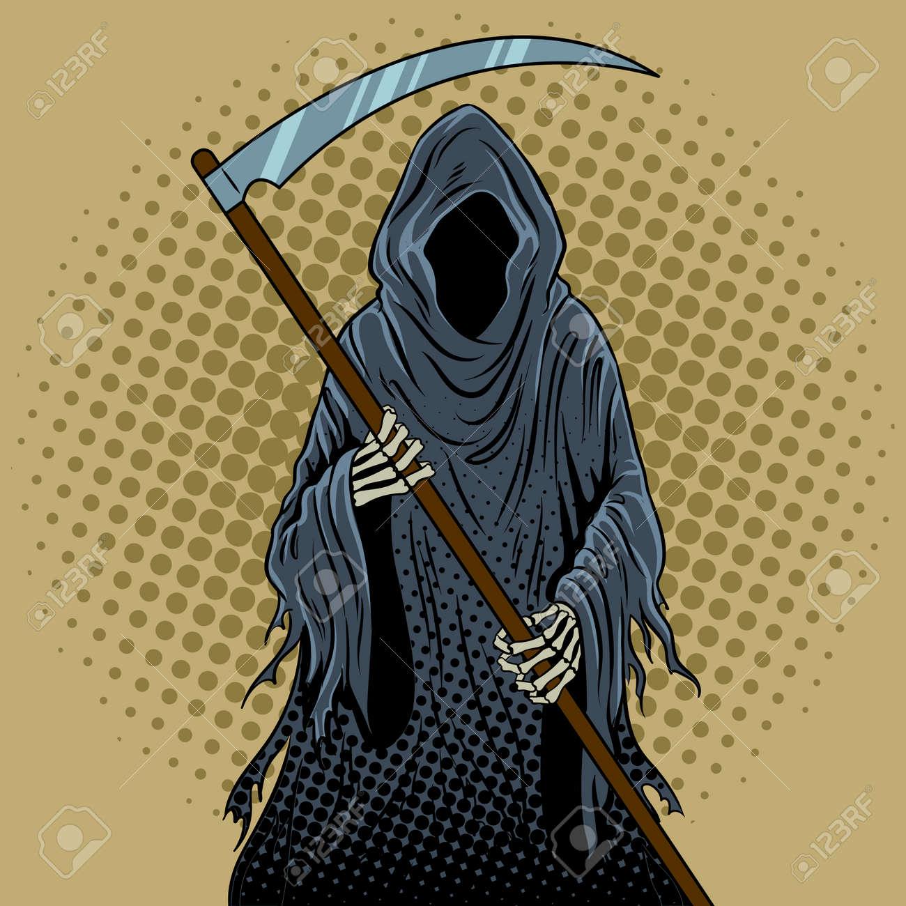 hight resolution of grim reaper pop art retro illustration stock vector 89197414
