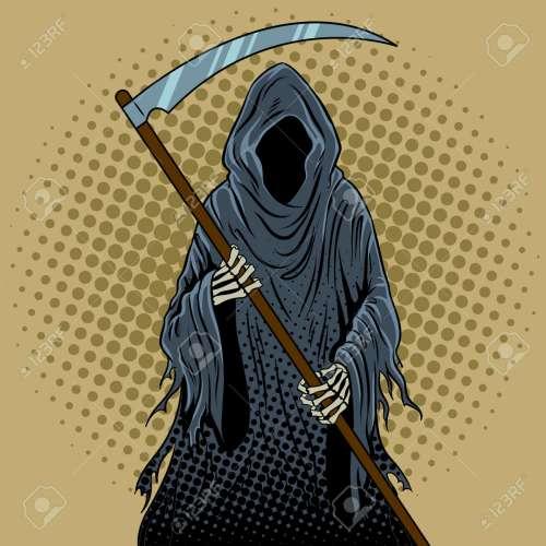 small resolution of grim reaper pop art retro illustration stock vector 89197414