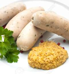 bavarian meal white sausages with sweet mustard on a plate stock photo 31000493 [ 1300 x 866 Pixel ]