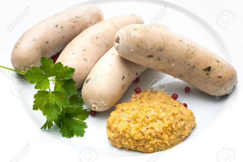 medium resolution of bavarian meal white sausages with sweet mustard on a plate stock photo 31000493