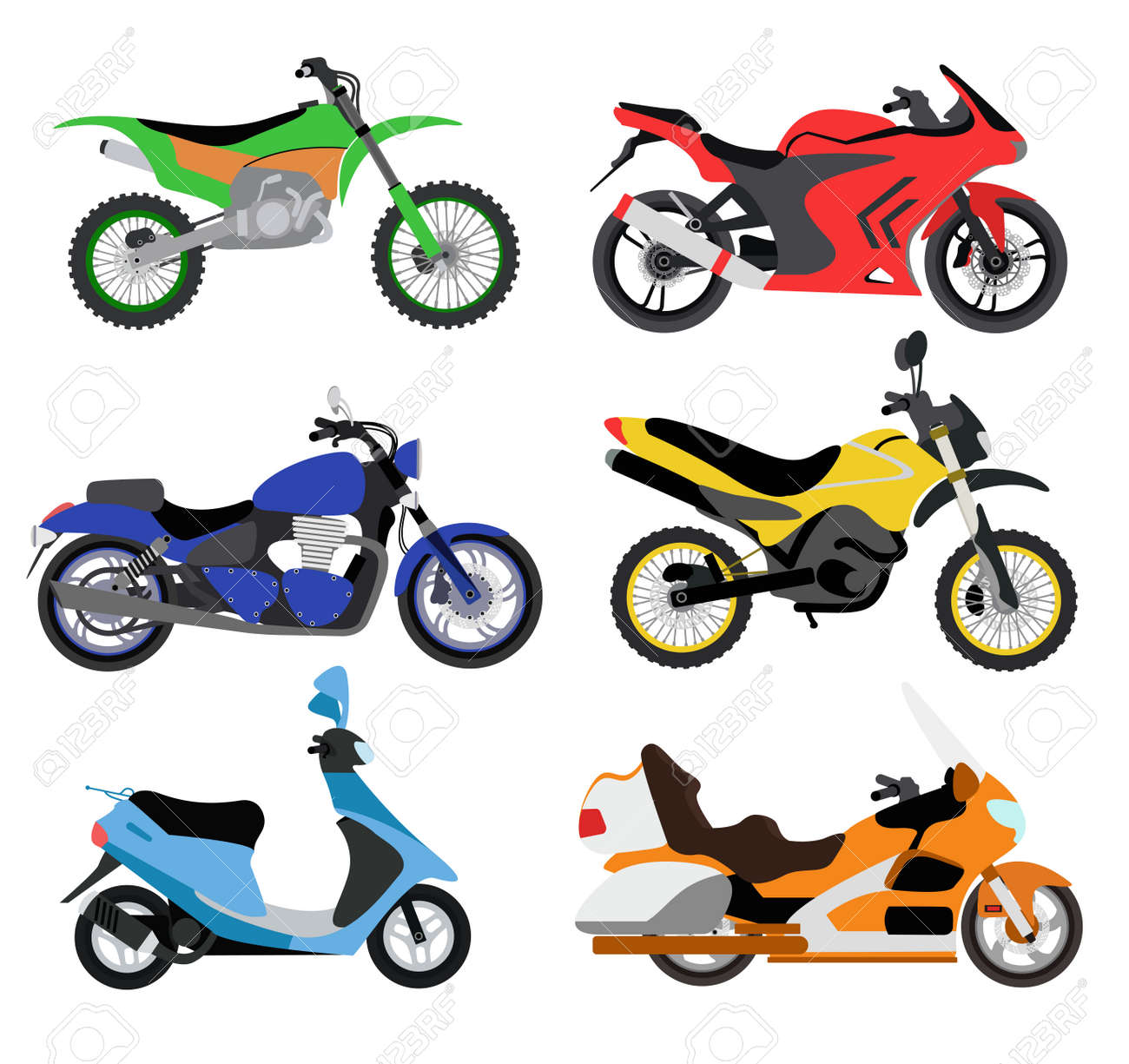 hight resolution of vector motorcycles illustration motorcycles isolated on white background cross bike sport bike