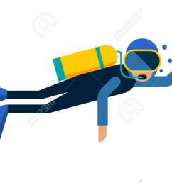 scuba diver isolated equipment water sport activity vacation leisure vector illustration underwater people diver isolated [ 1300 x 782 Pixel ]