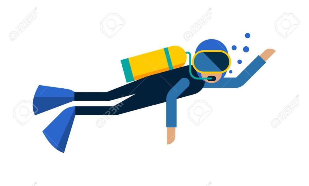 medium resolution of scuba diver isolated equipment water sport activity vacation leisure vector illustration underwater people diver isolated