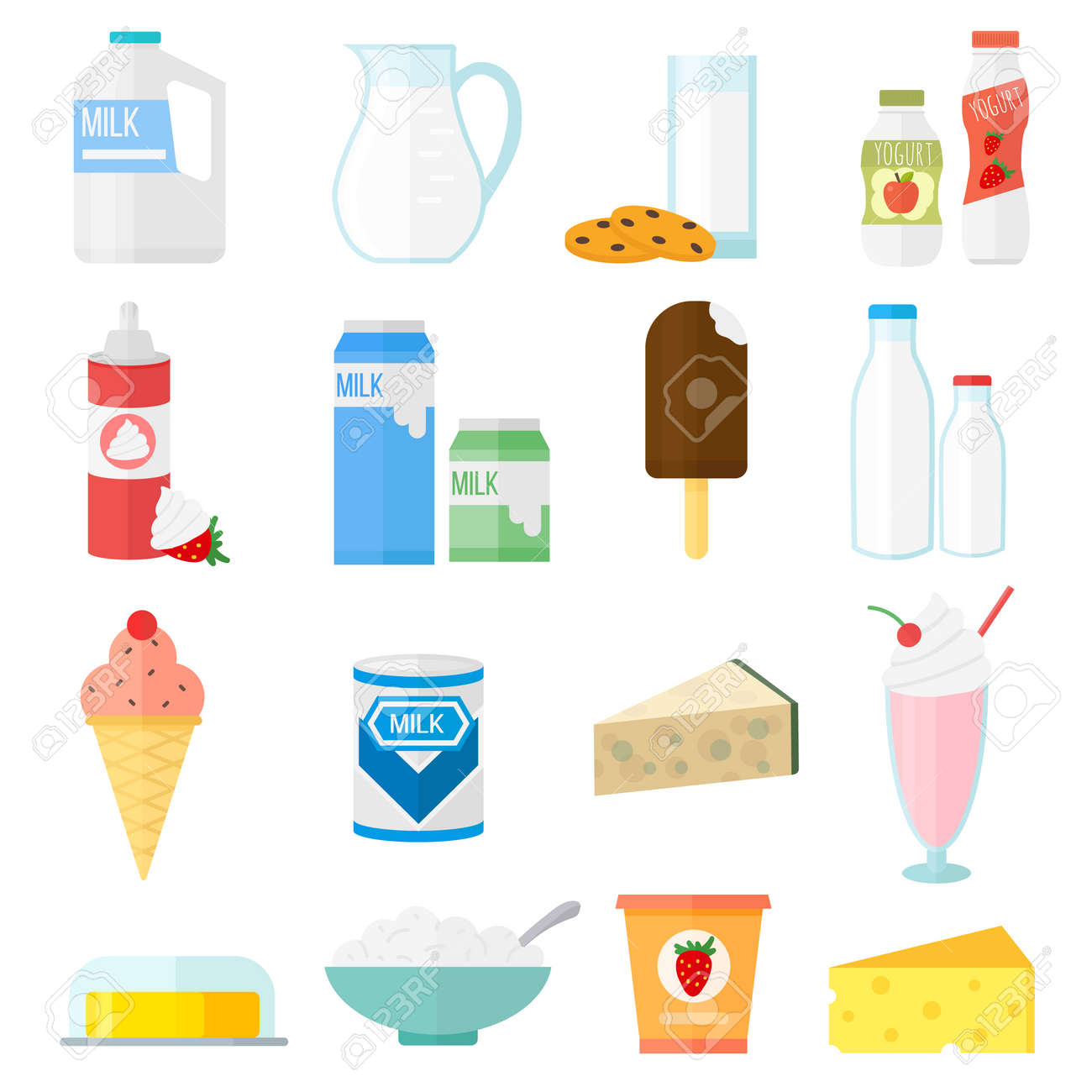 hight resolution of milk products collage collection dairy products on white background milk products healthy drink organic