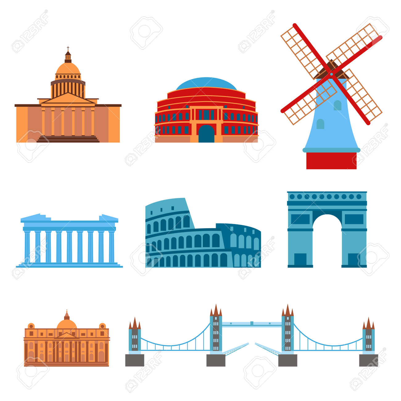 Euro Trip Tourism Travel Design Famous Building And Euro Adventure Royalty Free Cliparts Vectors And Stock Illustration Image 81143104